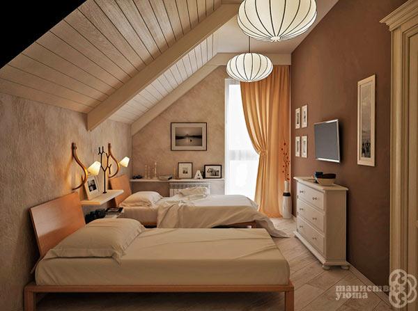 Спальная на мансарде