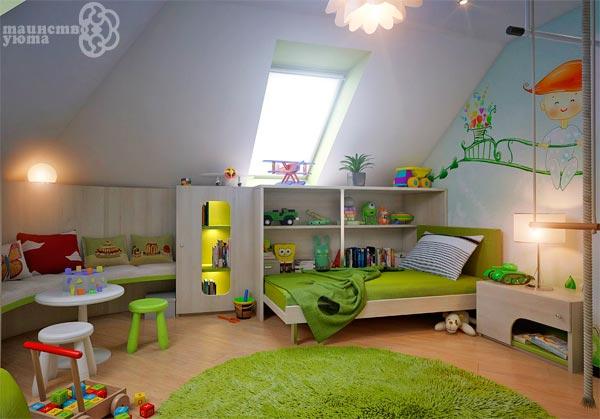 Дизайн детской мансарды фото