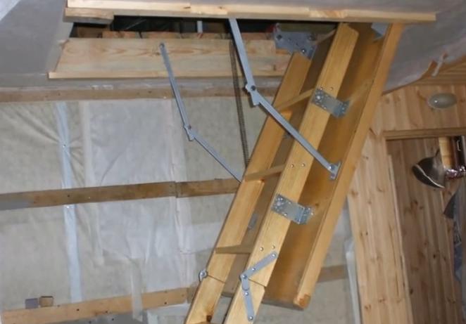 Лестница на чердак складная своими руками видео